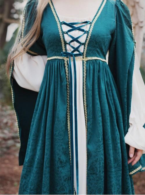 Blackish Green Renaissance Cotton Material High Waist  Fake Two Longuette