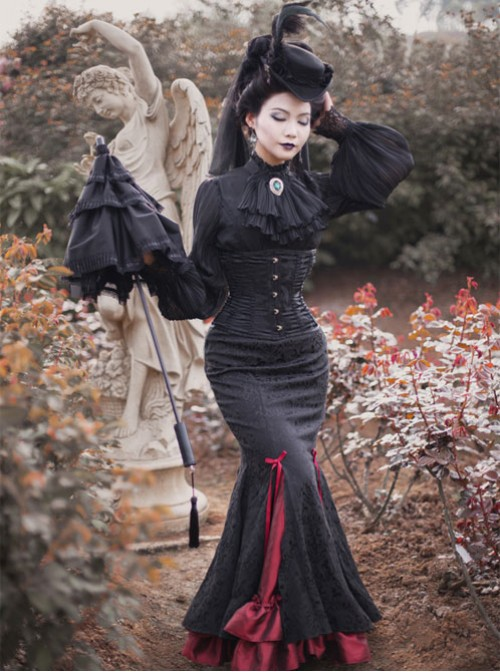 Wine Red Dark Lines Pure Cotton Fishtail Skirt