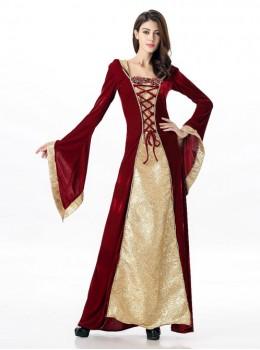 Dark Khaki Color Queen Alice Halloween Dress