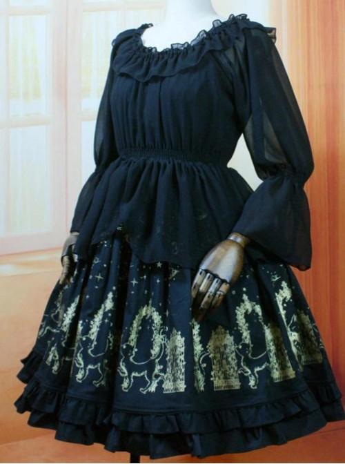 Black Lotus Leaf Edge Chiffon Wear Inside Dual Purpose Long SleevedClothes