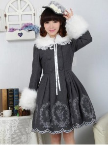 Dream of Lolita Grey Alice Rabbit Embroidery Jacket