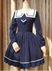 College Uniform Style Sailor Collar Navy Blue Stripes School Lolita Long Sleeve Dress