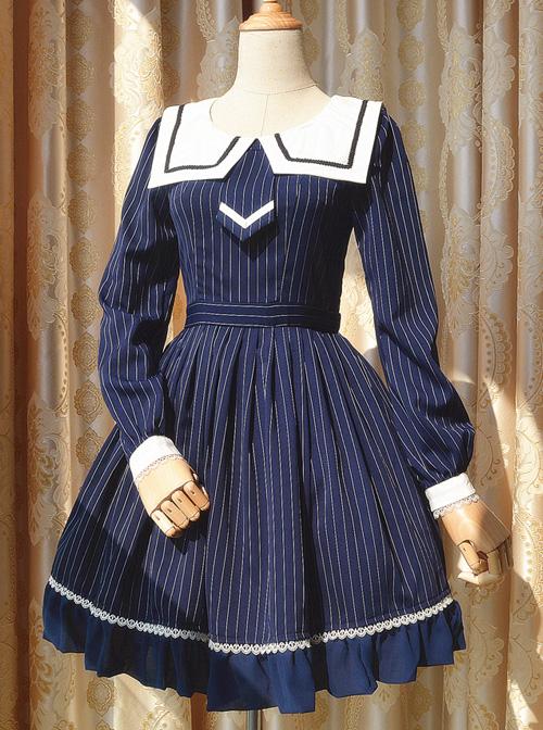 aa051dc92469 College Uniform Style Sailor Collar Navy Blue Stripes School Lolita Long  Sleeve Dress