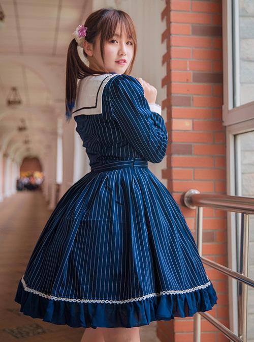 College Uniform Style Sailor Collar Navy Blue Stripes School Lolita Long Sleeve Dress