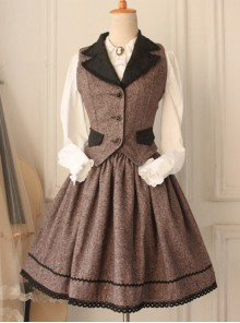 Brown Vintage  Vest Lolita Skirt Suit