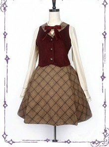 College School Uniform Style Red Waistcoat And Brown Plaid Skirt School Lolita Set