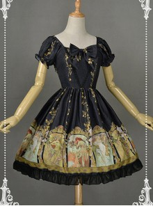 Black Sweet Bowknot Decorated Neckline Short Lolita Dress