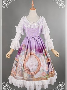 Purple Adorable Round Collar Detachable Sleeves Oil Painting Printed Lolita Dress