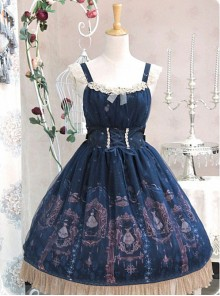 Blue Lace Trimmed Straps Waist Dress