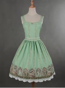 Green Simple Style Lace Hemline Dress
