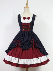 Bow Decorated Neckline Layered Skirt Lolita JSK- Snow White