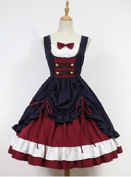 Bow Decorated Neckline Layered Skirt Lolita JSK- Snow White