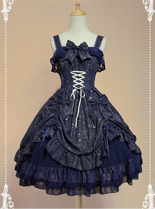 Dark Blue Bow Knot At Neckline Lace Wrinkle Vest Skirt