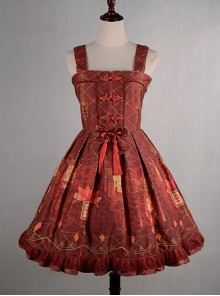 Wine Red  Shirring Lace Up  Chinese Palace Lanterns Lolita Dress
