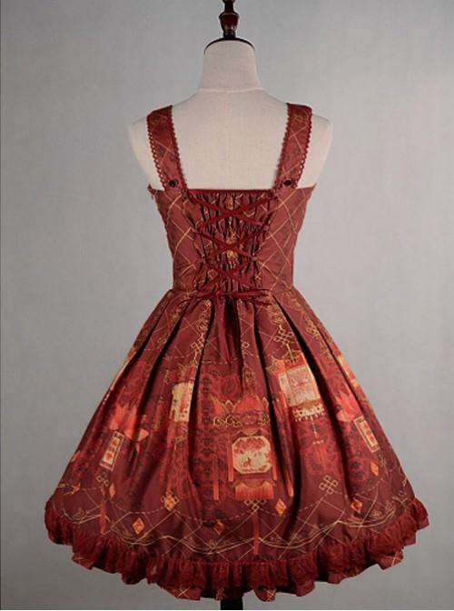 Wine Red  Shirring Lace Up  Chinese Palace Lanterns Lolita Dress