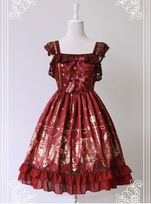 Wine Red Available Pleated Short Sleeves Flounce Hemline Dress