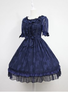 Dark Blue Short Sleeves With Flounce Hemline Lace Dress