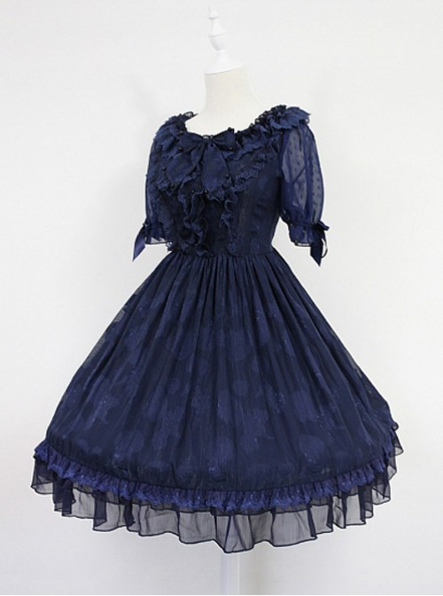 Dark Blue Short Sleeves With Flounce Hemline Lace Dress