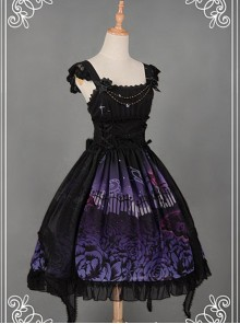 Bowknot Natural Waist & Flower Decorated Lolita JSK  - Butterfly Cemetery by Souffle Song