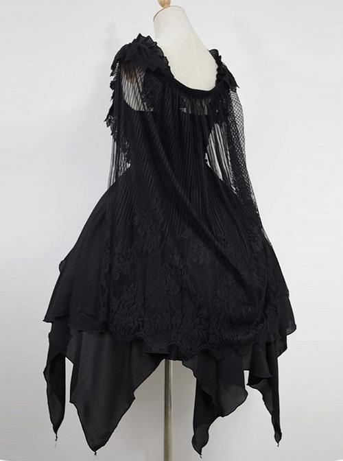 Dark Ballet Floral  Fairy Skirt Gothic Lolita JSK with Detachable Cape