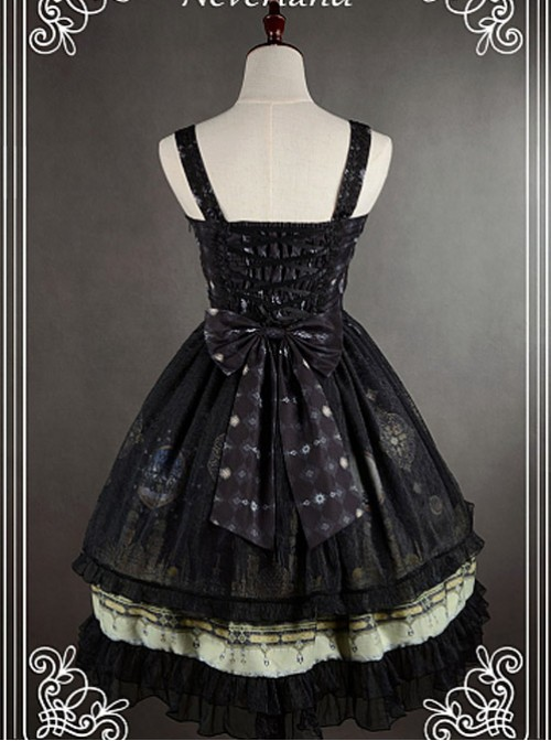 Bowknot Decorated Neckline Wide  Straps Lolita JSK / Jumper Skirt with Tulle Overlay - Arabian Nights by Souffle Song