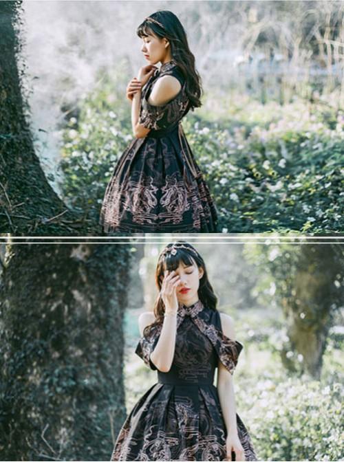 Black Kowloon Missing Shoulder Print Dress