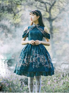 Blue Kowloon Missing Shoulder Print Dress