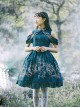 Blue Kowloon Missing Shoulder Print Dress