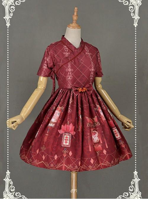 Dark Red Short Sleeves  Pleated Skirt Qi Lolita Dress - Chinese Palace Lanterns