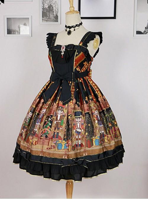 Black Ruffled Straps And Square Neckline By Nutcracker Fantasy Skirt