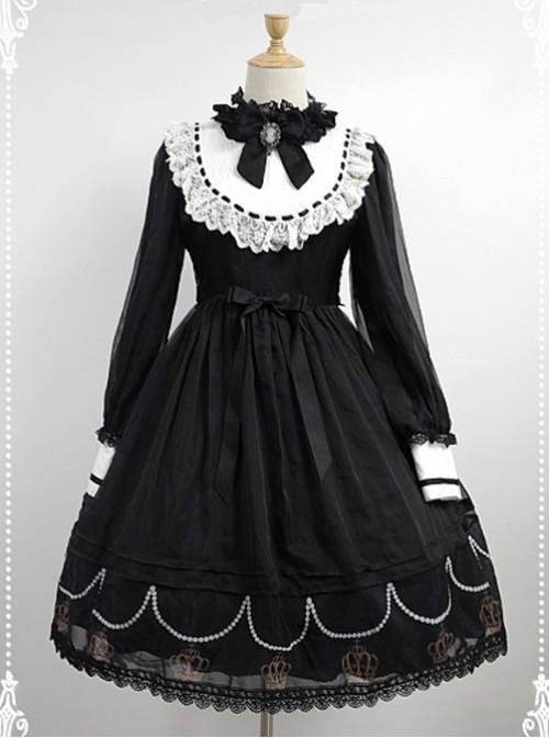Black And White Long Sleeves OP With Crown Printed Skirt Hemline