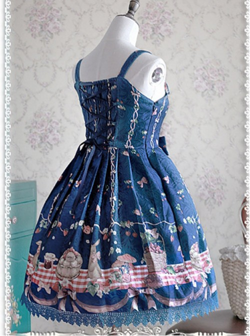 Lace Decorated Neckline Casual Style Lolita JSK - Picnic Rabbits by Infanta