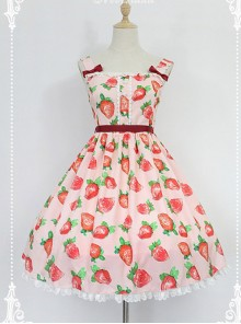 Daily Lolita Jumper Skirt Strawberries Printed Lolita JSK by Souffle Song