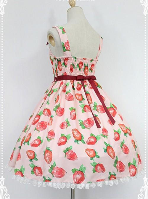 Daily Lolita Jumper Skirt Strawberries Printed Lolita JSK by Souffle Song
