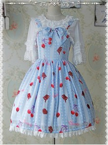 Printed Bowknot Decorated Pleated Lolita JSK - Cherry by Infanta