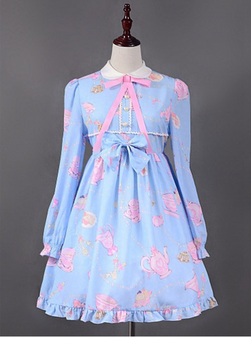 Teapot Printed Long Sleeves Lolita Dress