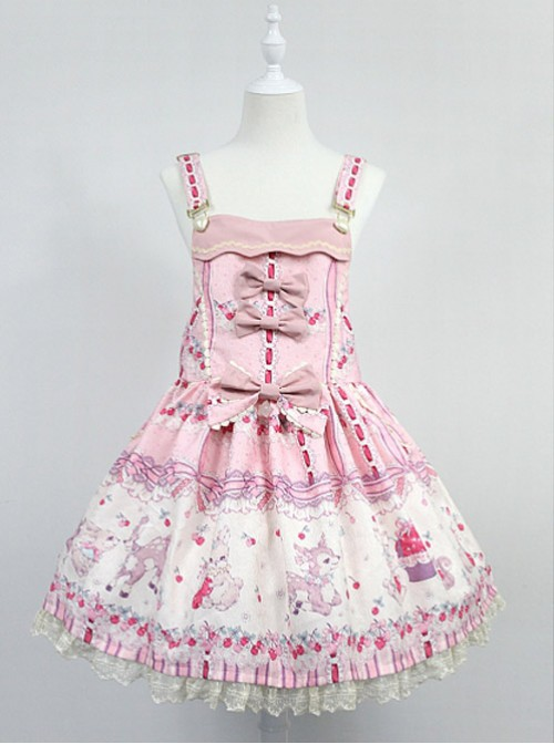 Sweet Adjustable Straps Decorated Bodice Cherry Rose