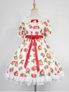 Strawberry Printed Empire Waist Short Sleeves OP