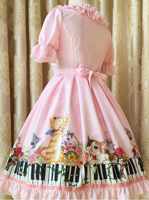 Ruffled Neckline and Skirt Hemline Sweet Kitties and Piano Printed OP