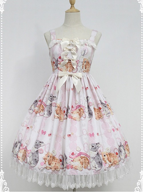 Cute Rabbits Printed Sweet Lolita JSK