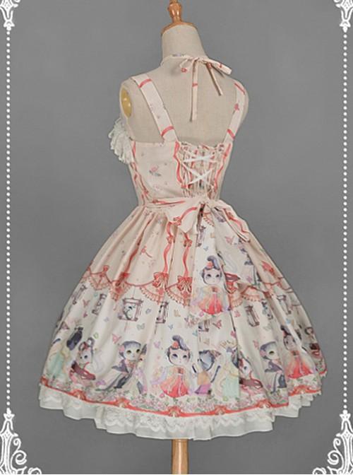 Apricot Criss Cross Halter Dress Cat Print