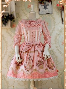 Pink Lace And Bow Decoration Cotton Dress