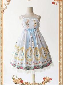 Light Blue Lace Sweet A-Line Skirt