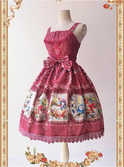 Wine Red Elegant Lace Bow Dress