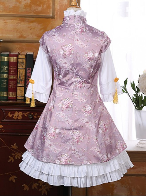 Pink Chinese Wind Lovely Lotus Leaf Reformed Cheongsam Skirt