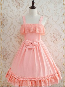 Tank Straps And Lace Trimmed Neckline Bowknot Pink Dress