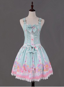 Light Blue Candy Land Printed Lace Hemline Lolita Dress