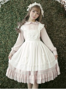 White Apron Dress Lotus Leaf Edge Pastoral Style Lolita Long Sleeve Dress