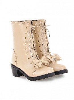 Bow Beige Retro Carved  Boots