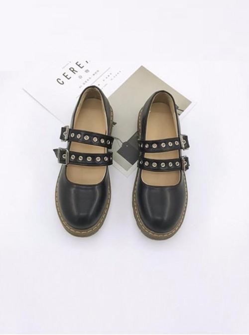 Mori Girl Black Hasp Student Cute Retro Round-toe Doll Shoes